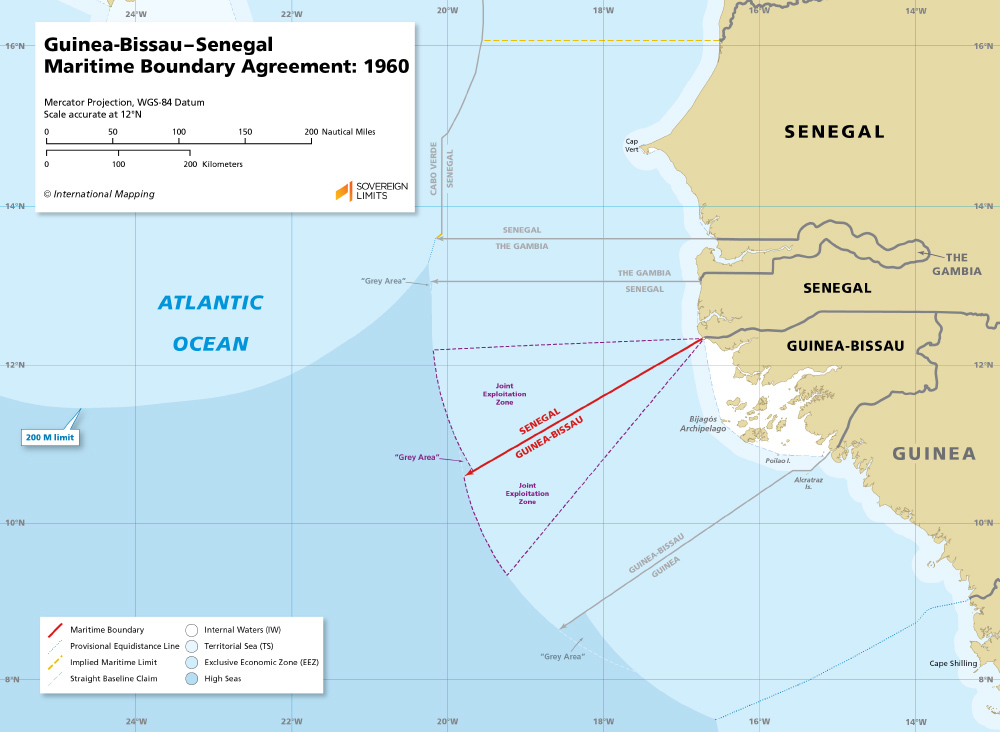 Map of the Guinea-Bissau – Senegal maritime boundary