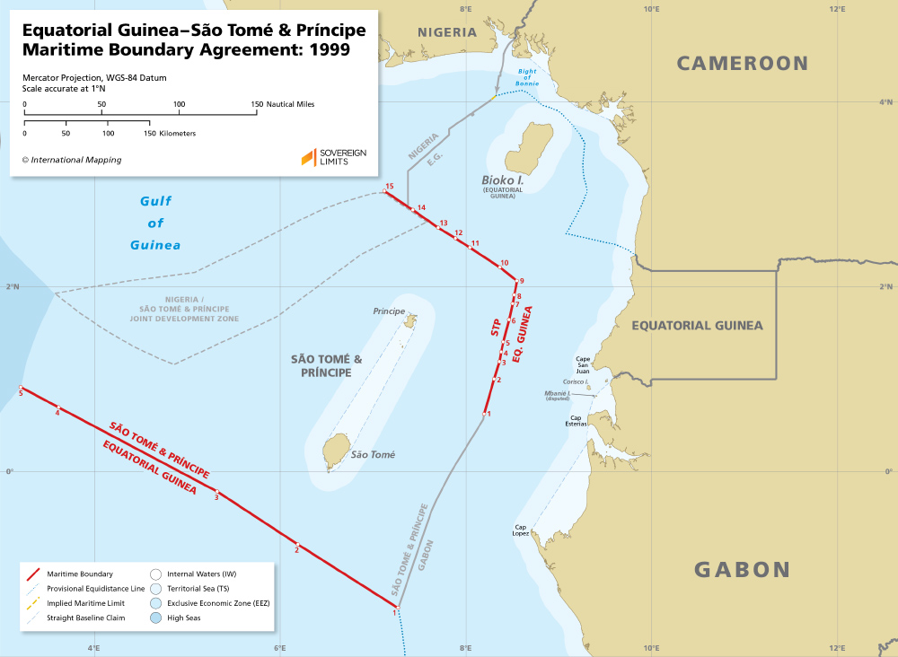 The two maritime boundaries between Equatorial Guinea and Sao Tome & Principe