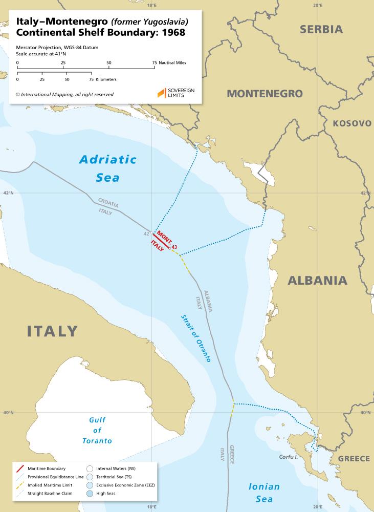 Italy – Montenegro maritime boundary map 1968