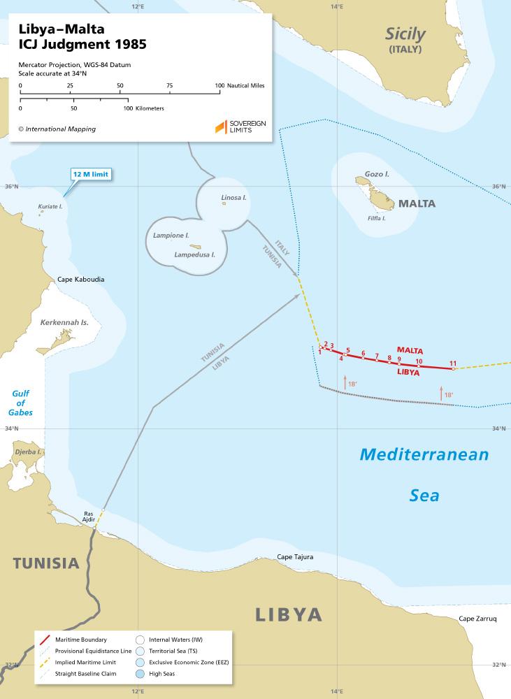 Libya –Malta maritime boundary map ICJ Judgment
