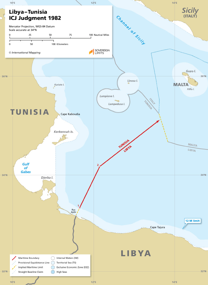 Libya – Tunisia maritime boundary map