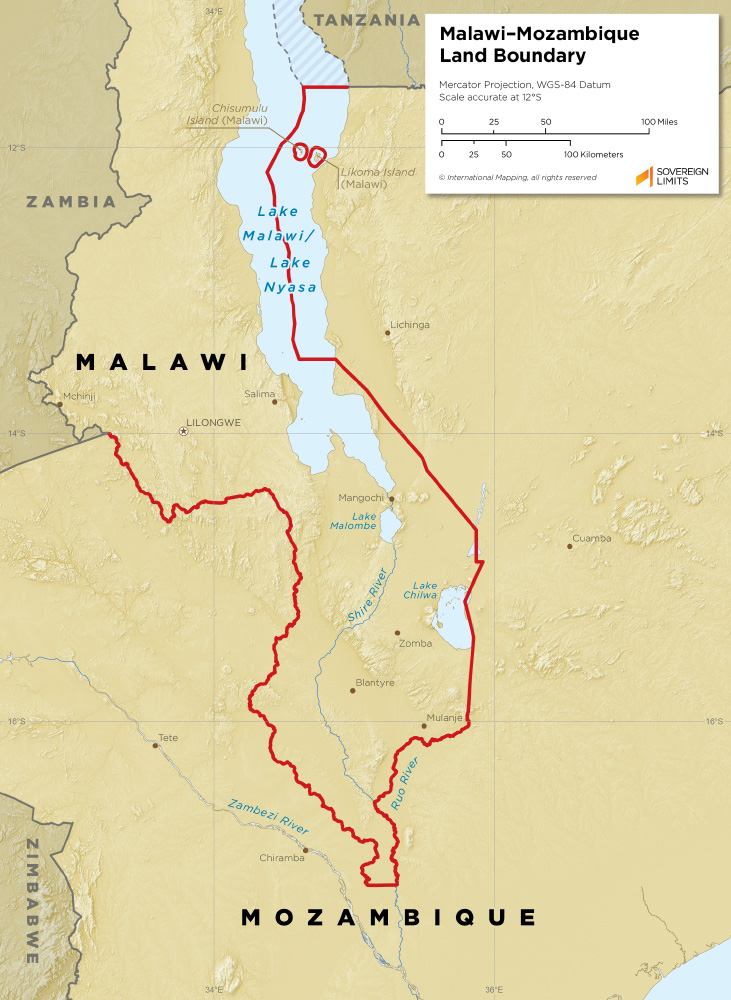 Malawi – Mozambique land boundary map