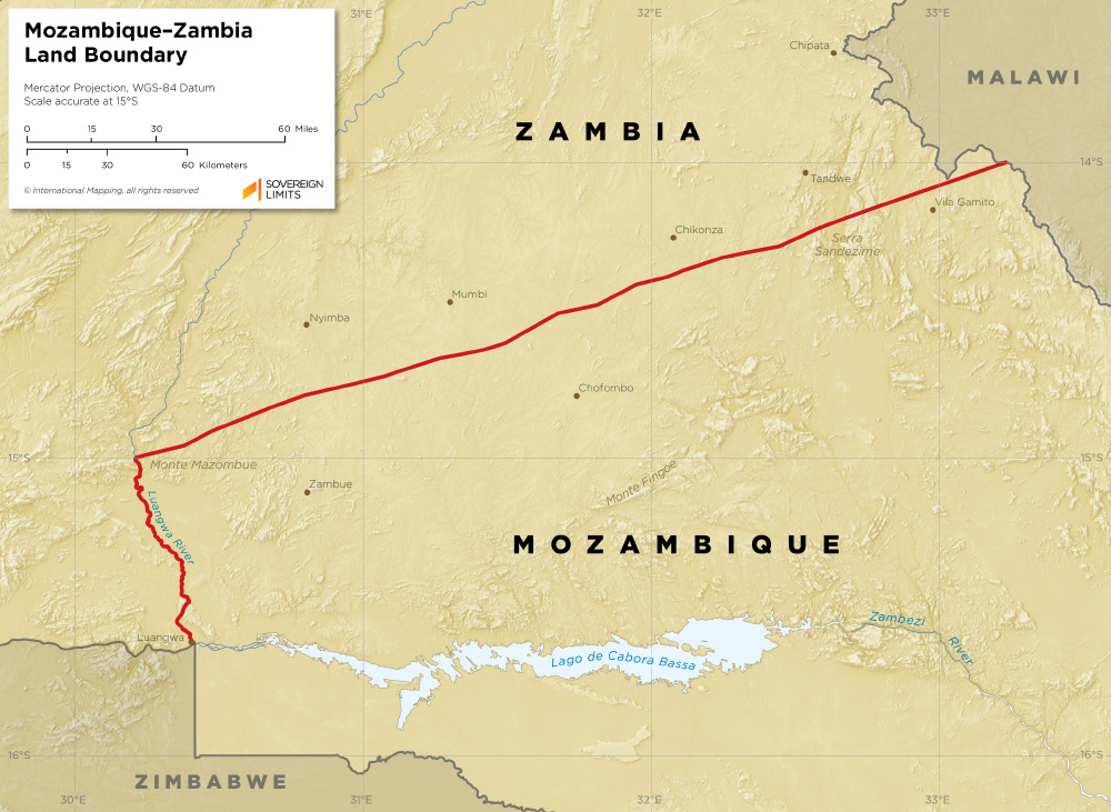 Mozambique Zambia land boundary map