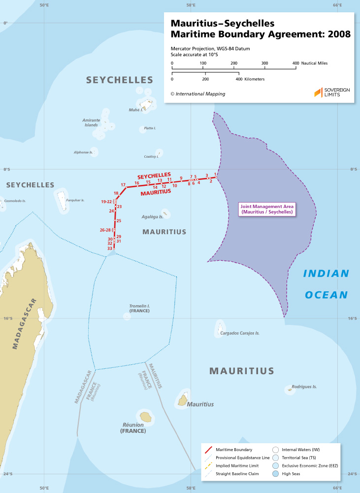 Mauritius – Seychelles maritime boundary map