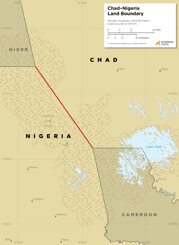 Chad – Nigeria land boundary map