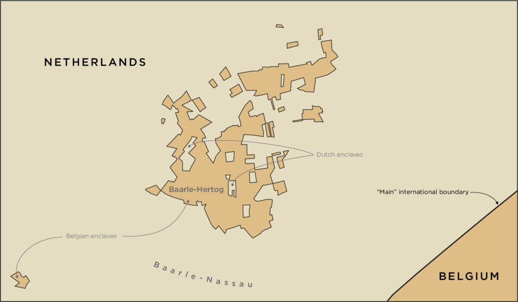 A map showing all of the enclaves associated with Baarle-Hertog. A very strange looking international boundary.