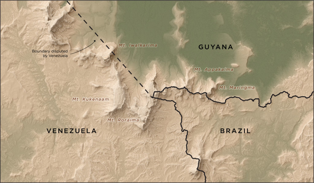 Shaded relief map of Mt. Roraima showing the international boundaries