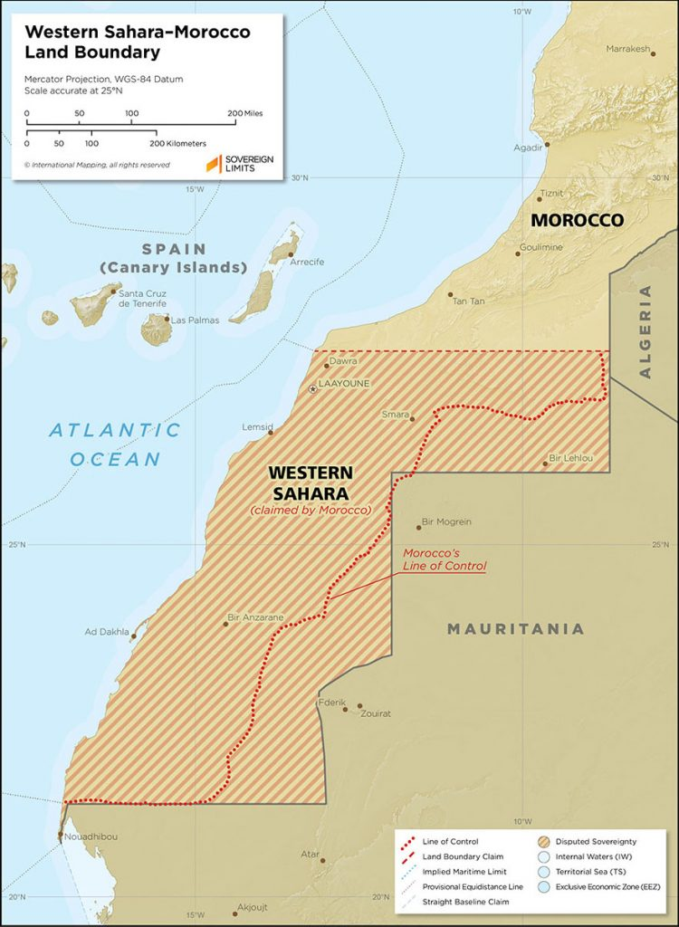 Showing Western Sahara as disputed territory, and Moroccos line of control almost all the way to the southern border with Mauritania.