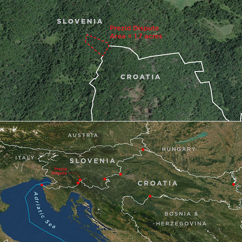 Top: large scale map of the 1.7 acre Prezid dispute Bottom: Balkans regional map featuring Croatia's disputes