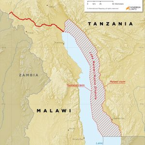 The land boundary between Malawi and Tanzania, including the dispute over Lake Malawi