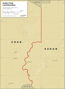 Map showing the land boundary between Chad and Sudan