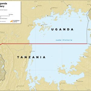 Map showing the land boundary between Uganda and Tanzania