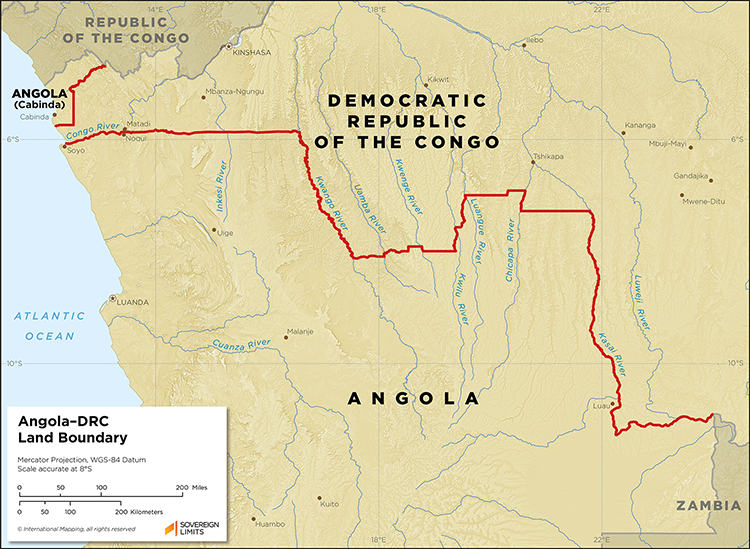 Map showing the land boundary between Angola and the DRC
