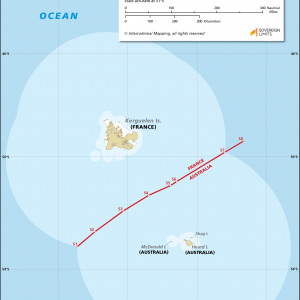 Map showing the maritime boundary between Australia and France