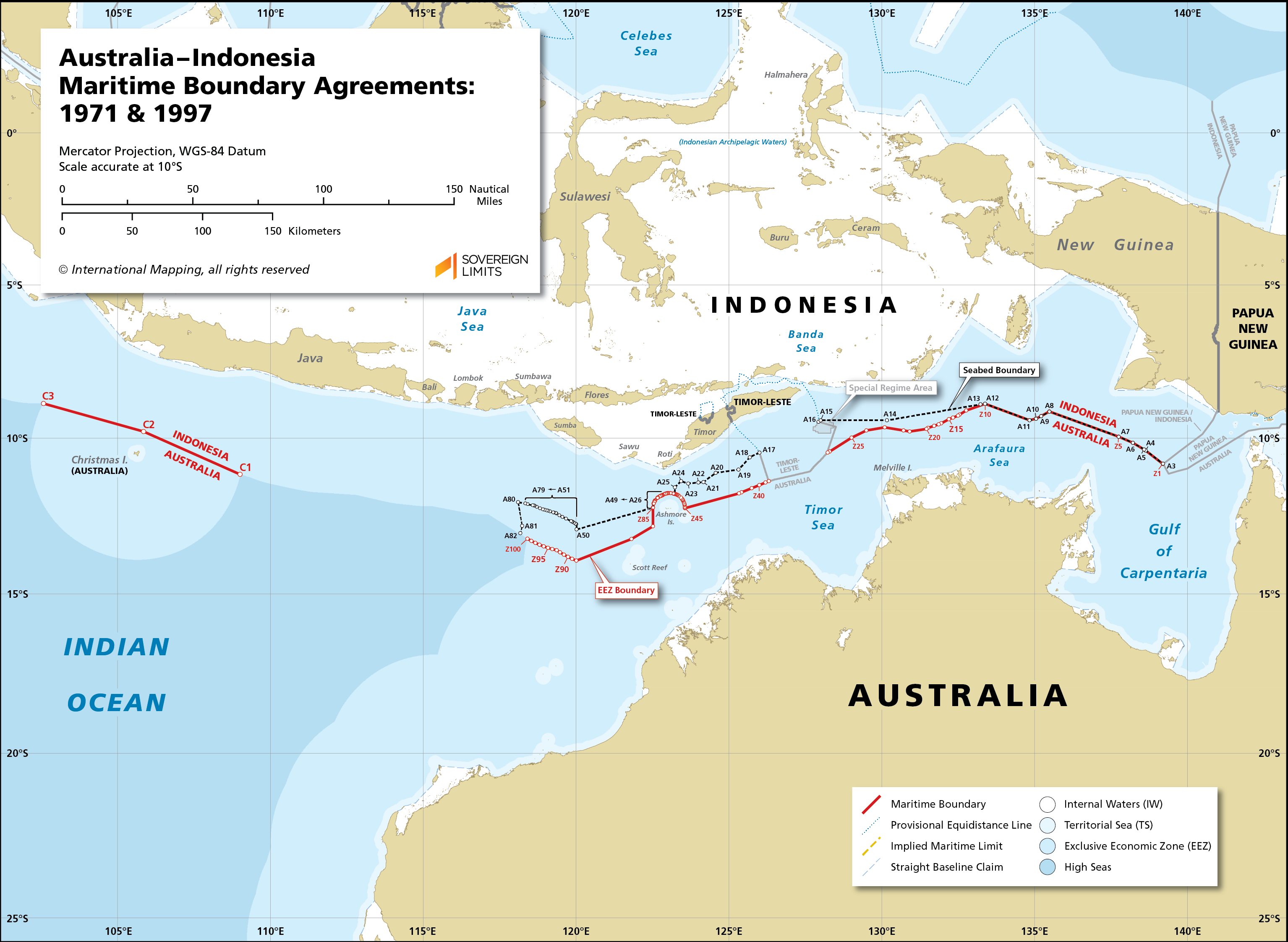 Map showing the maritime boundary between Australia and Indonesia