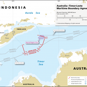 Map showing the maritime boundary between Australia and Timor-Leste