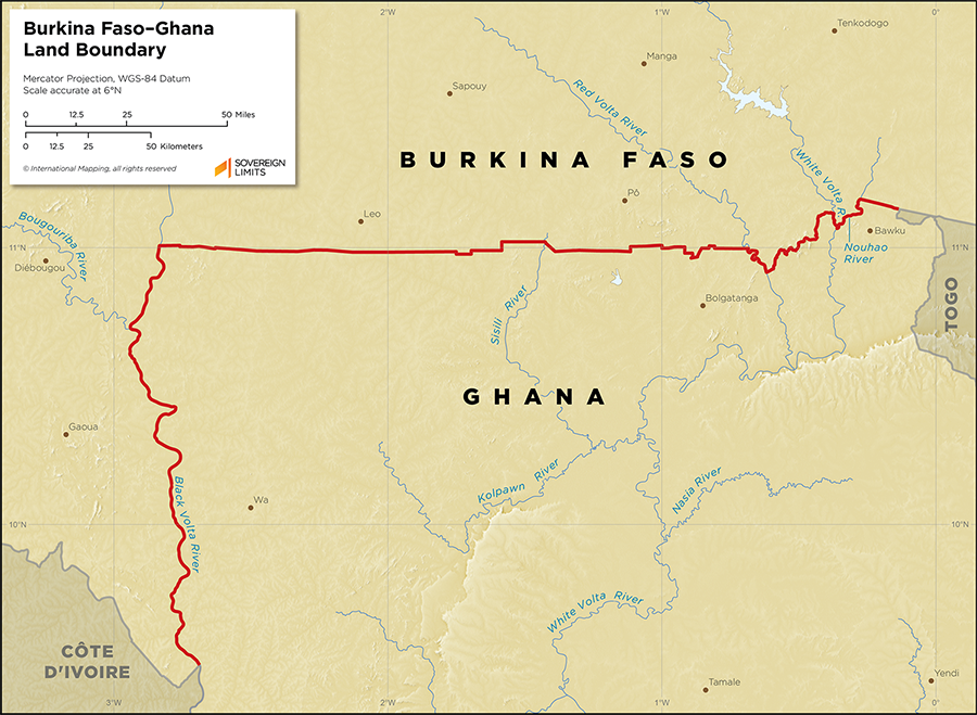 Map showing the land boundary between Burkina Faso and Ghana