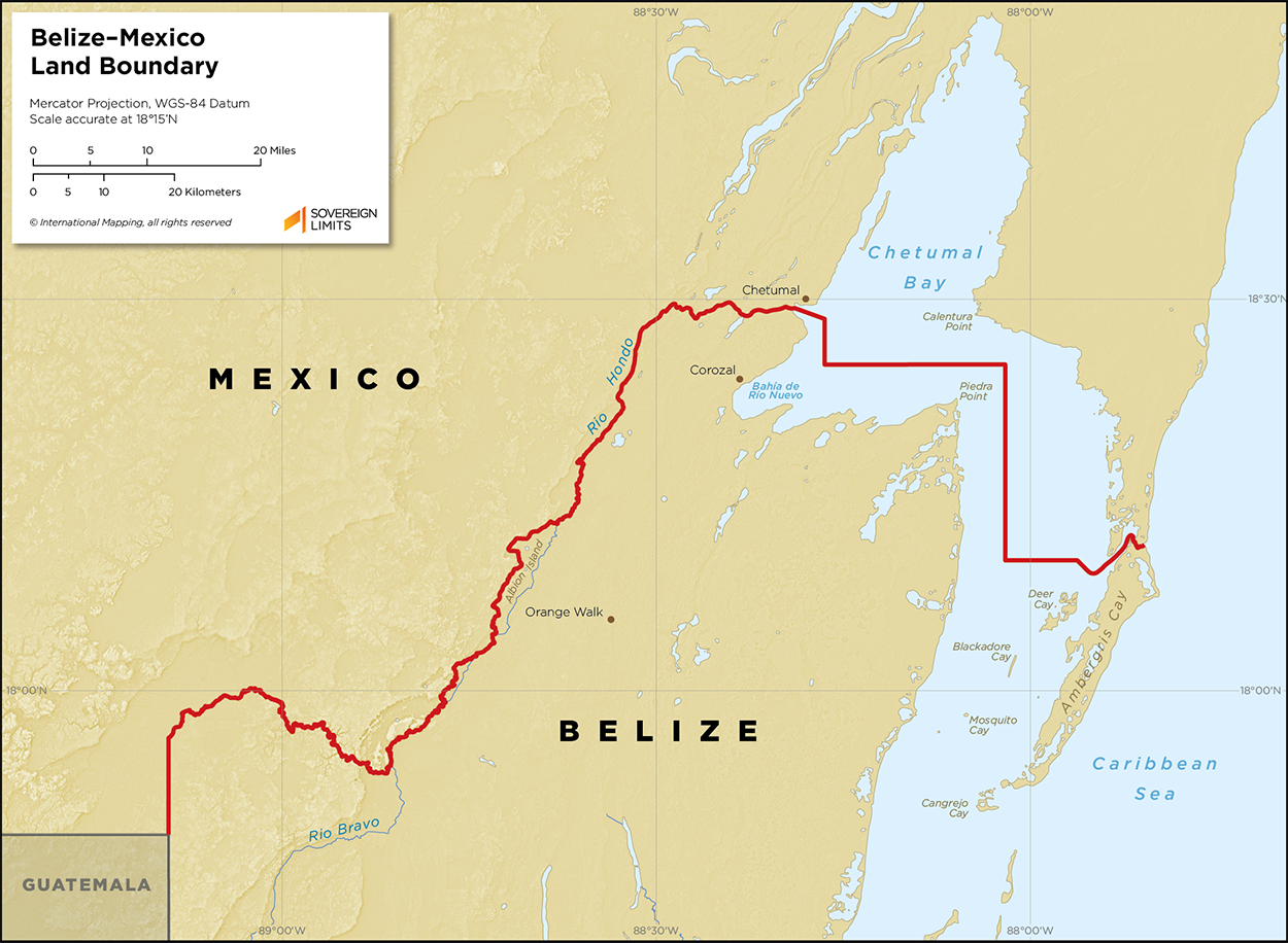 Map showing the land boundary between Belize and Mexico