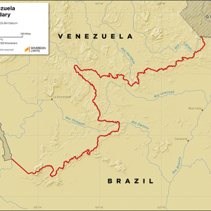 Map showing the land boundary between Brazil and Venezuela