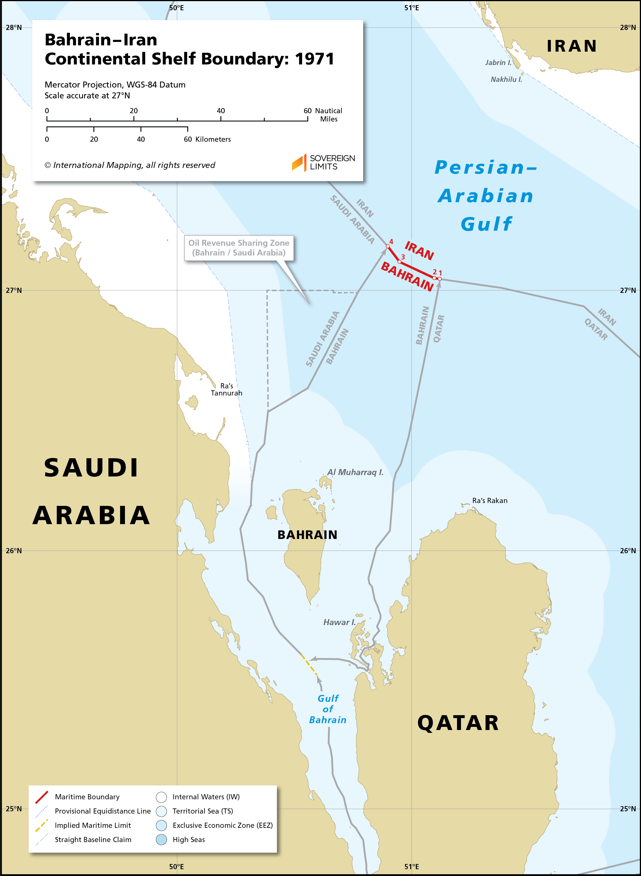 Map showing the maritime boundary between Bahrain and Iran