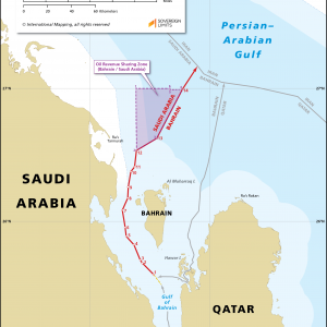Map showing the maritime boundary between Bahrain and Saudi Arabia