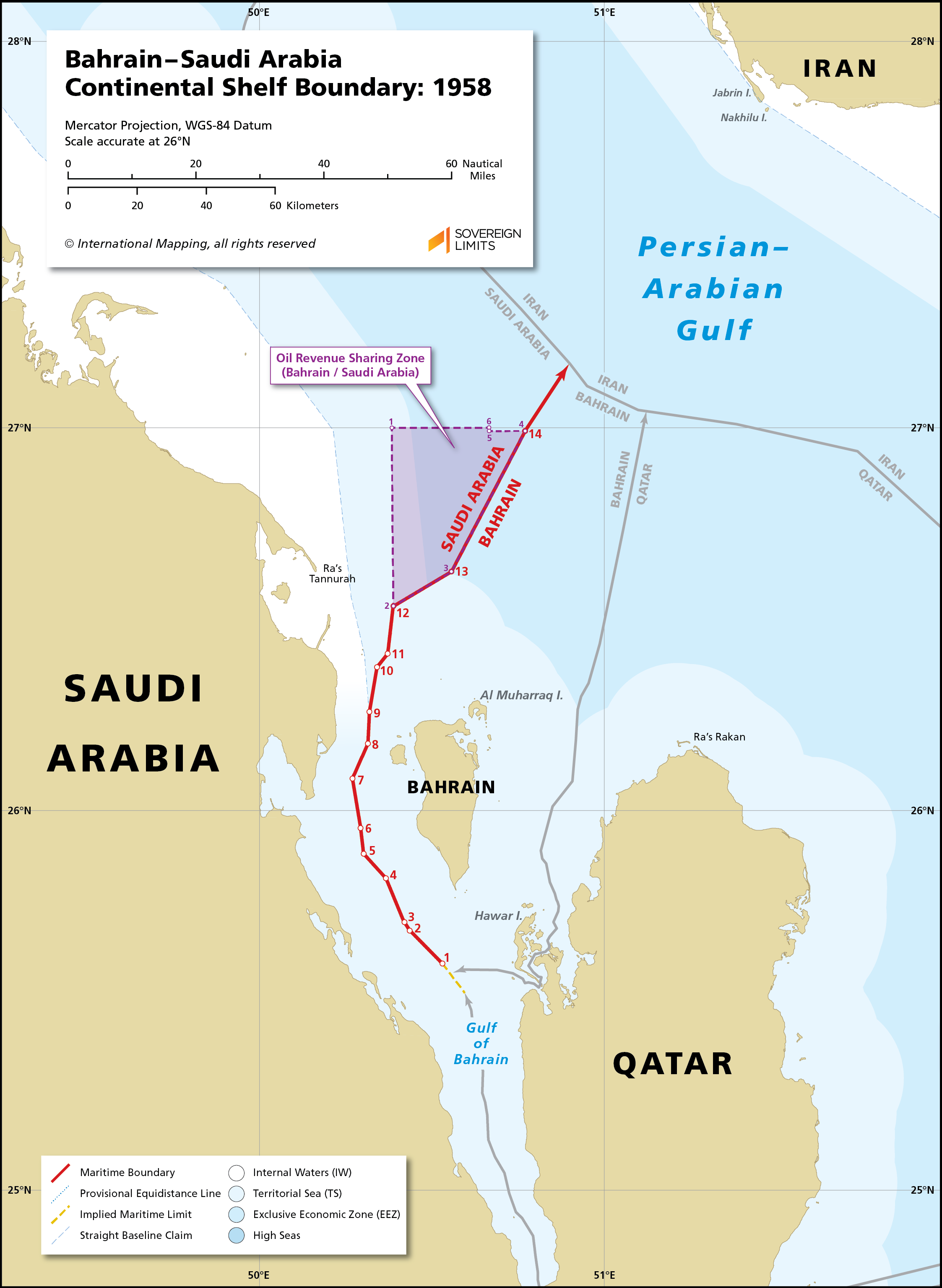 Map showing the maritime boundary between Bahrain and Saudi Arabia