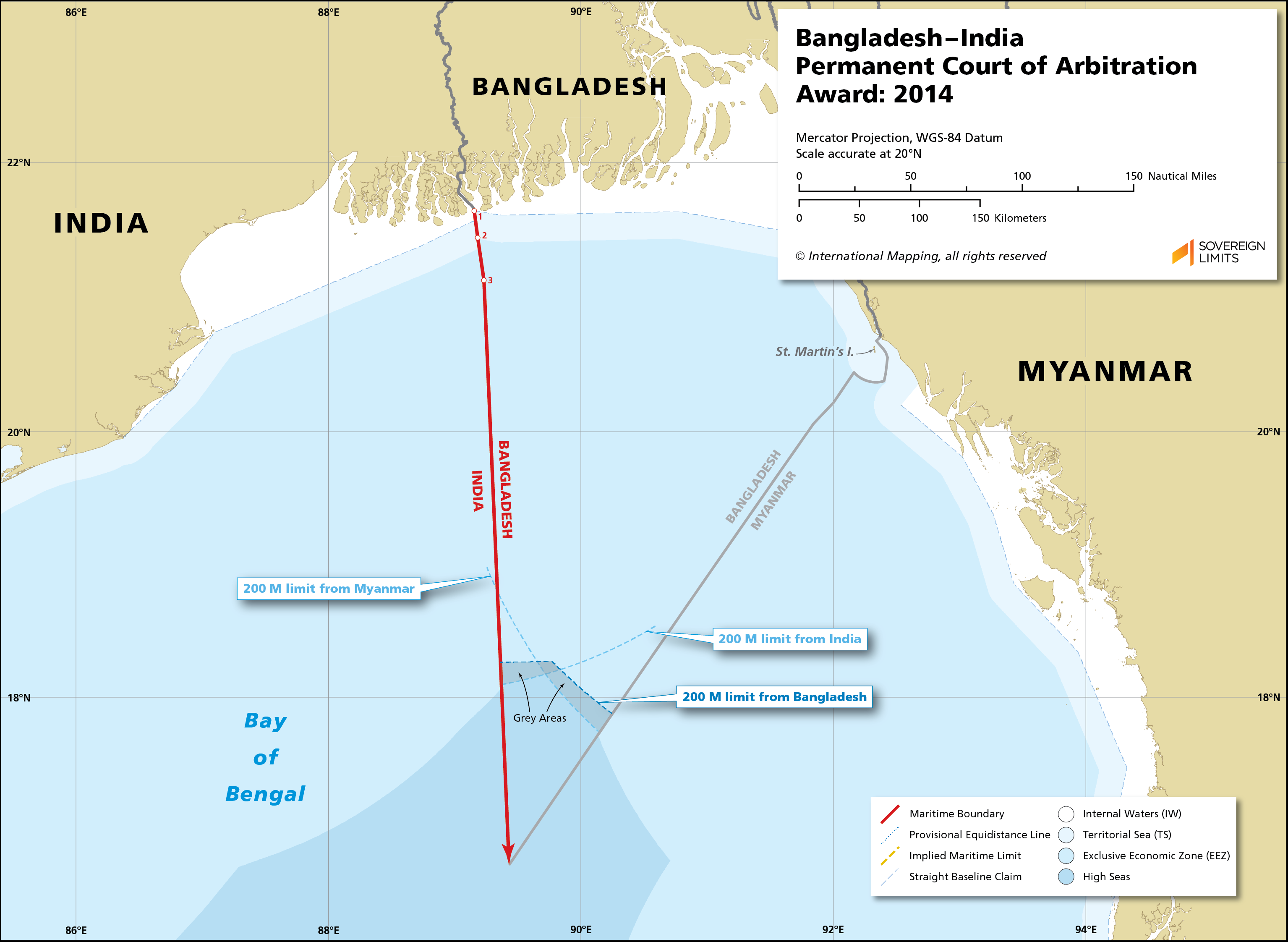 Map showing the maritime boundary between Bangladesh and India
