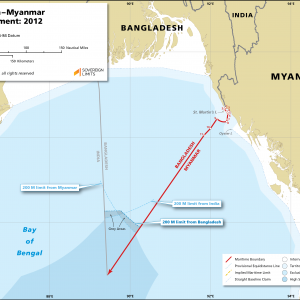 Map showing the maritime boundary between Bangladesh and Myanmar