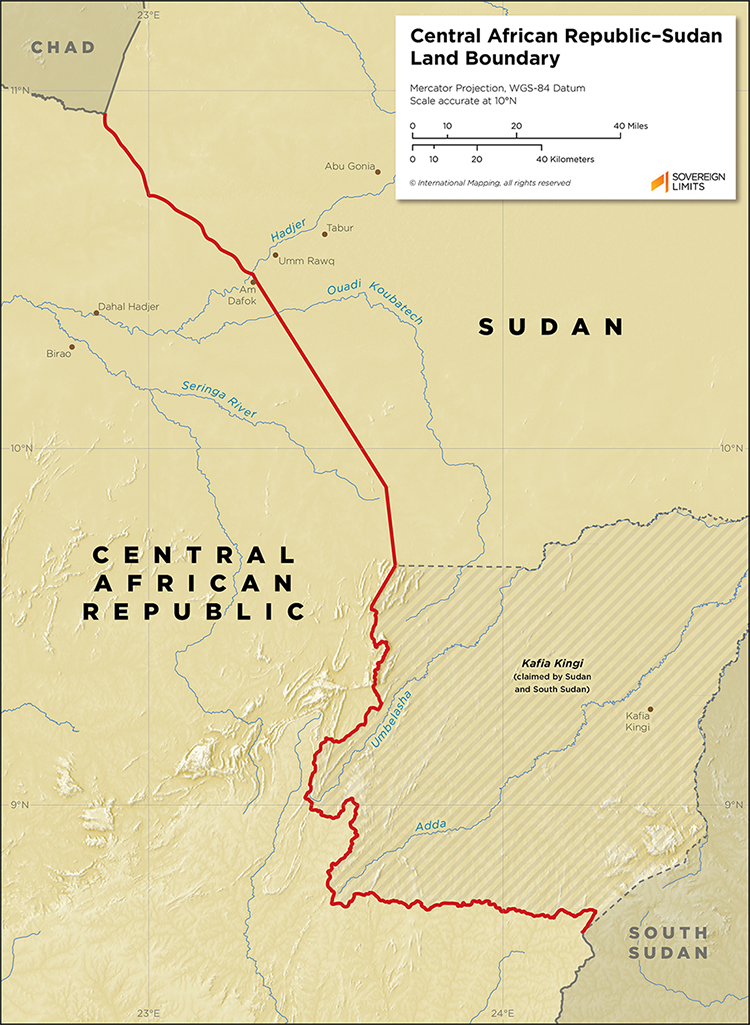 Map showing the land boundary between Central African Republic and Sudan