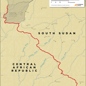Map showing the land boundary between Central African Republic and South Sudan