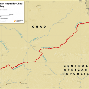 Map showing the land boundary between Central African Republic and Chad