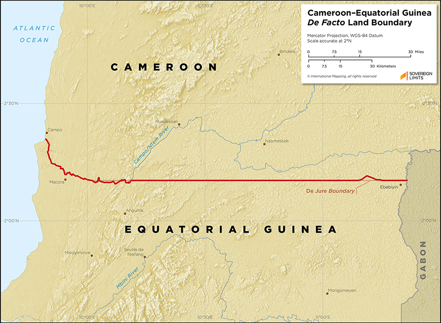 Map showing the land boundary between Equatorial Guinea and Cameroon