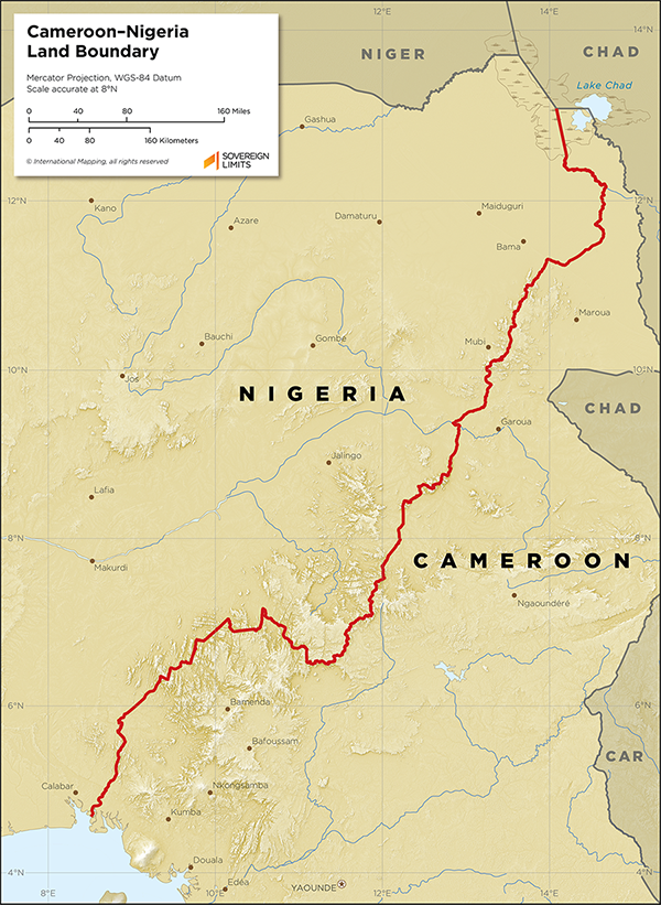 Map showing the land boundary between Cameroon and Nigeria