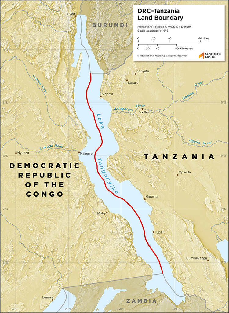 Map showing the land boundary between the DRC and Tanzania