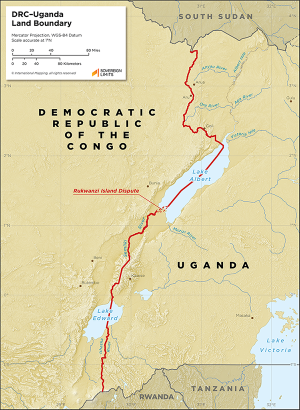 : Map showing the land boundary between the DRC and Uganda