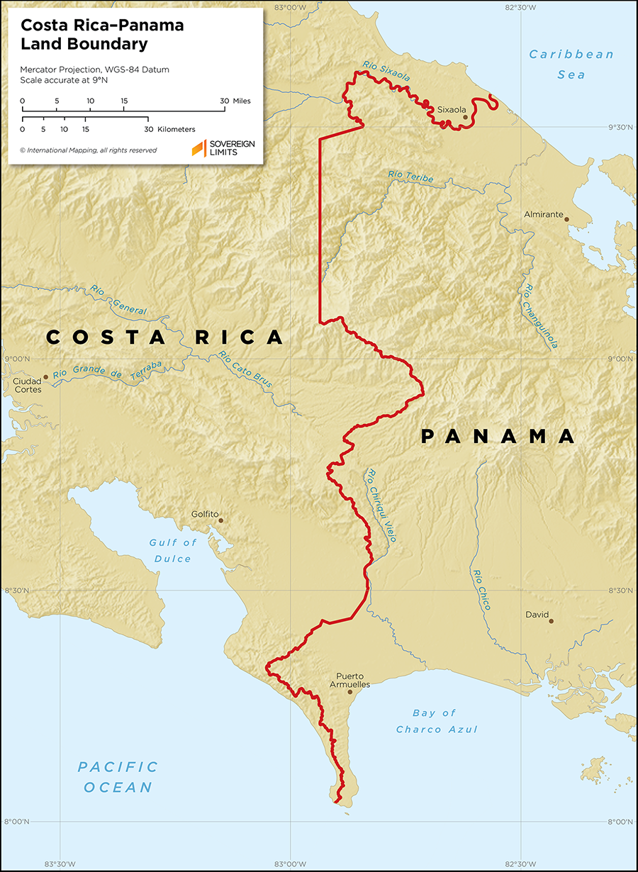 Map showing the land boundary between Costa Rica and Panama