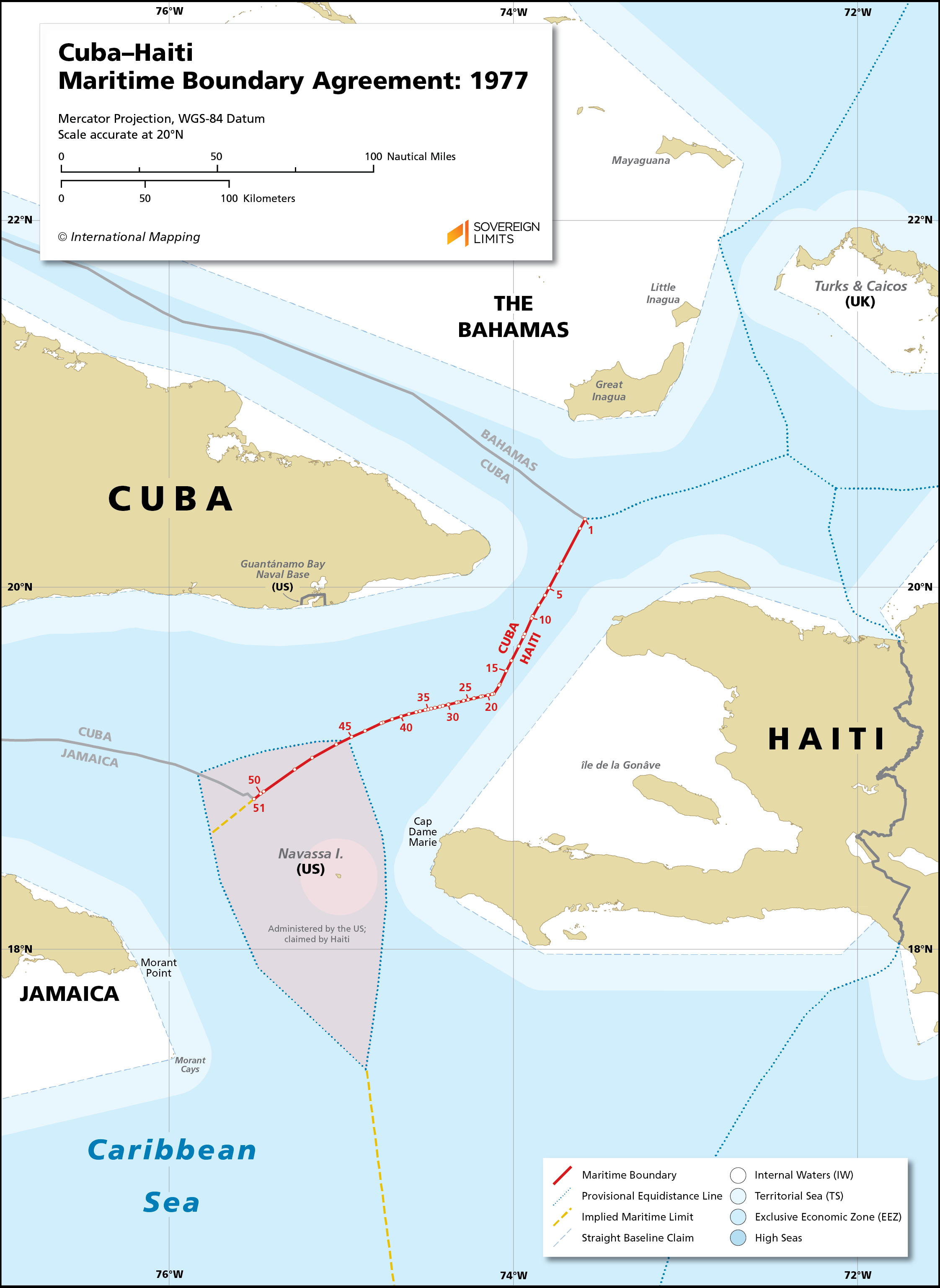 Map showing the maritime boundary between Cuba and Haiti