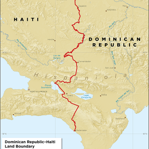 Map showing the land boundary between the Dominican Republic and Haiti