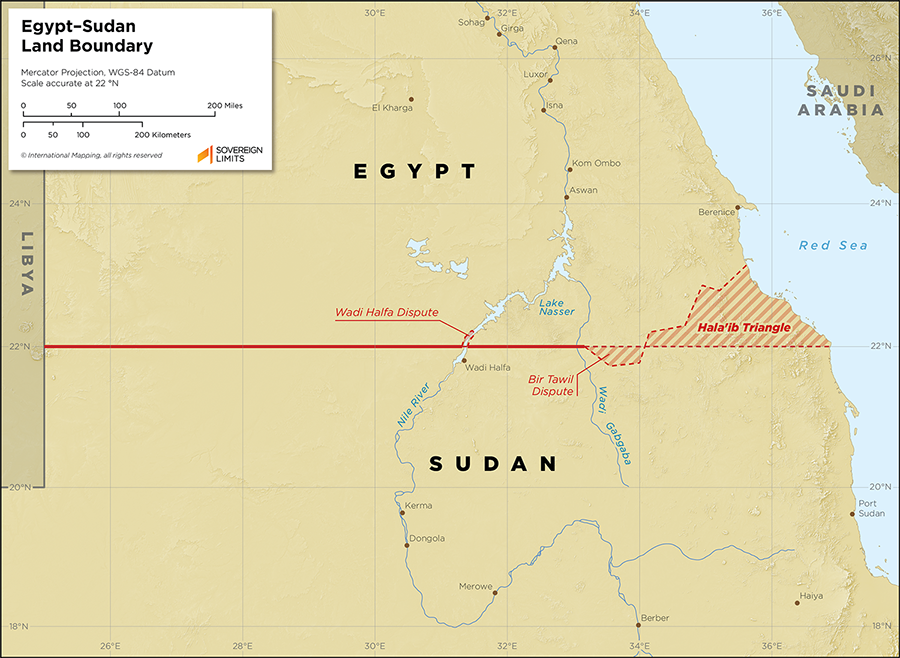 Map showing the land boundary between Egypt and Sudan