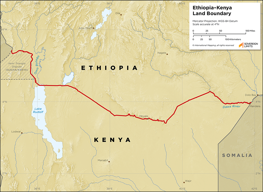 Map showing the land boundary between Ethiopia and Kenya