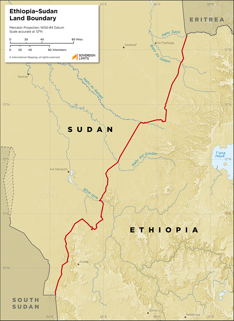 Map showing the land boundary between Ethiopia and Sudan