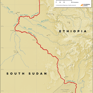 Map showing the land boundary between Ethiopia and South Sudan