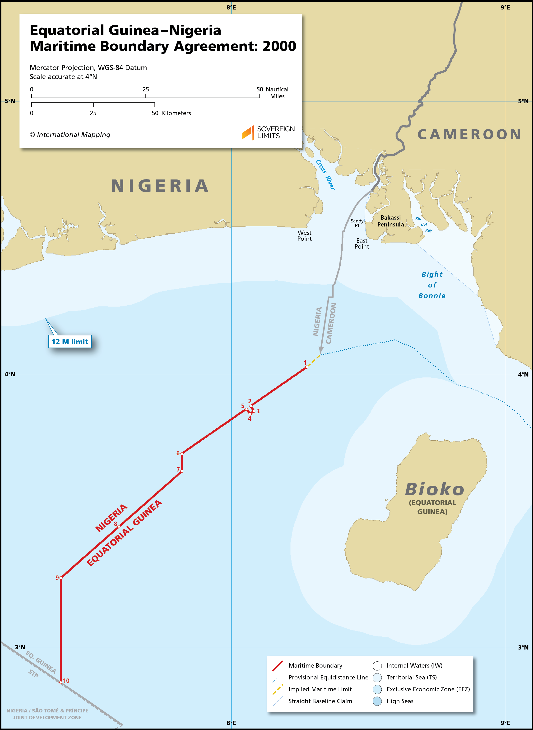 Map showing the maritime boundary between Equatorial Guinea and Nigeria