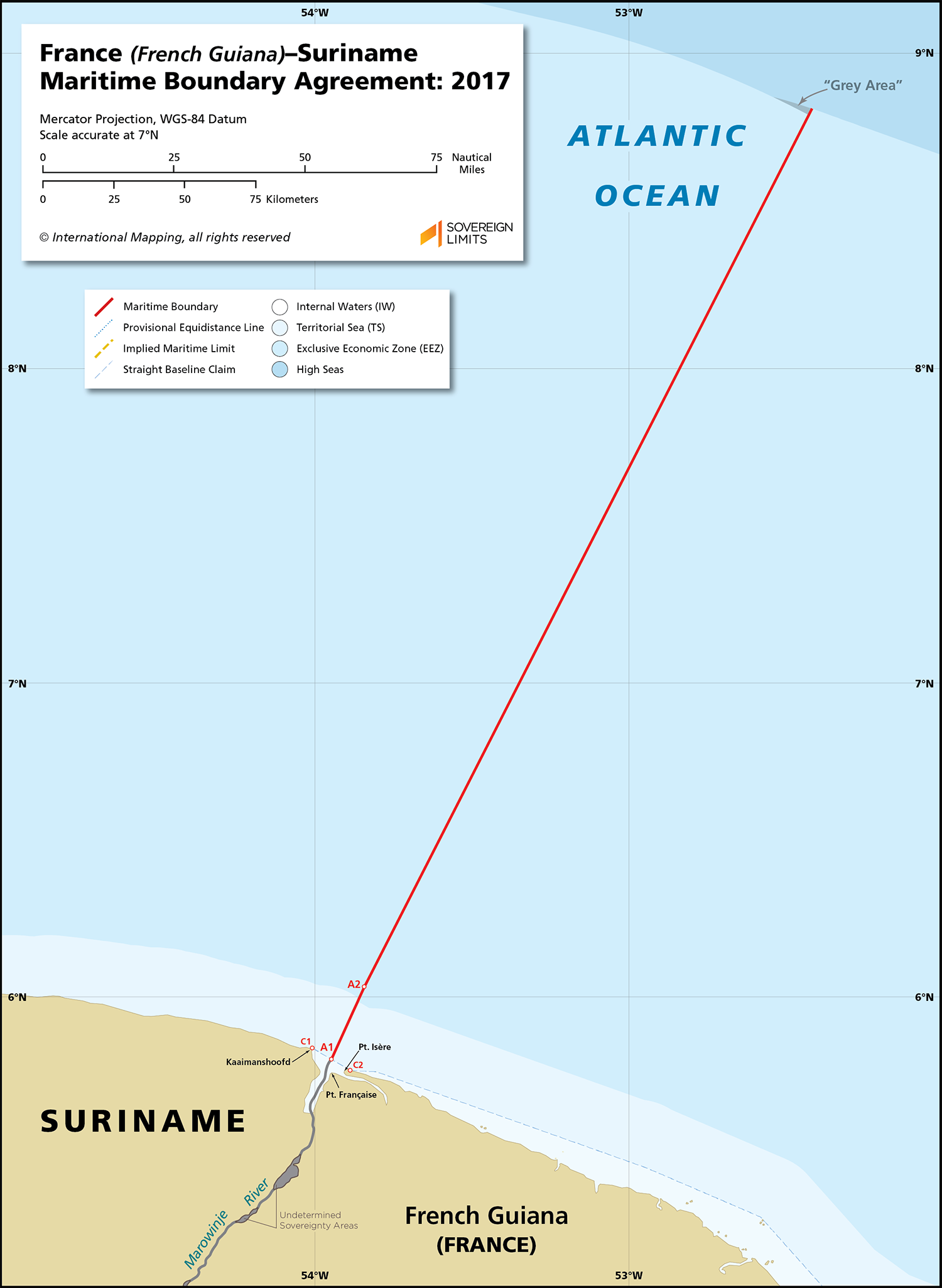 Map showing the maritime boundary between French Guiana and Suriname