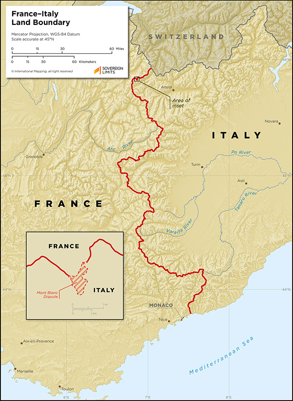 Map showing the land boundary between France and Italy