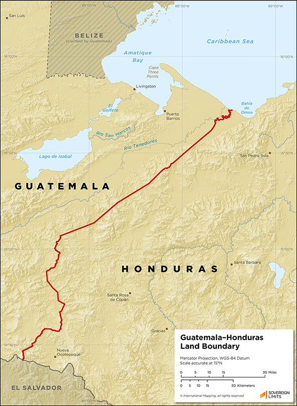 Map showing the land boundary between Guatemala and Honduras