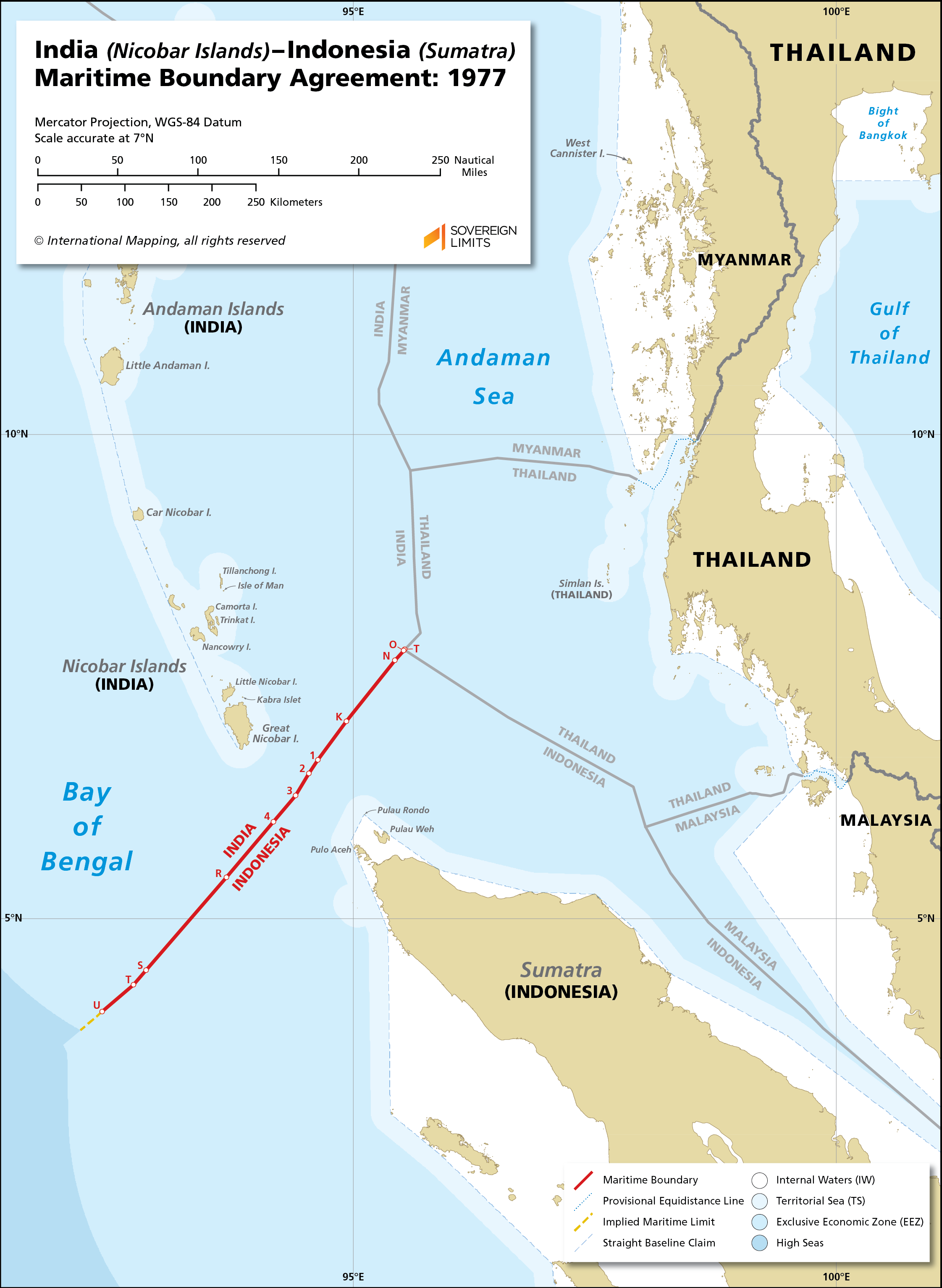 Map showing the maritime boundary between India and Indonesia