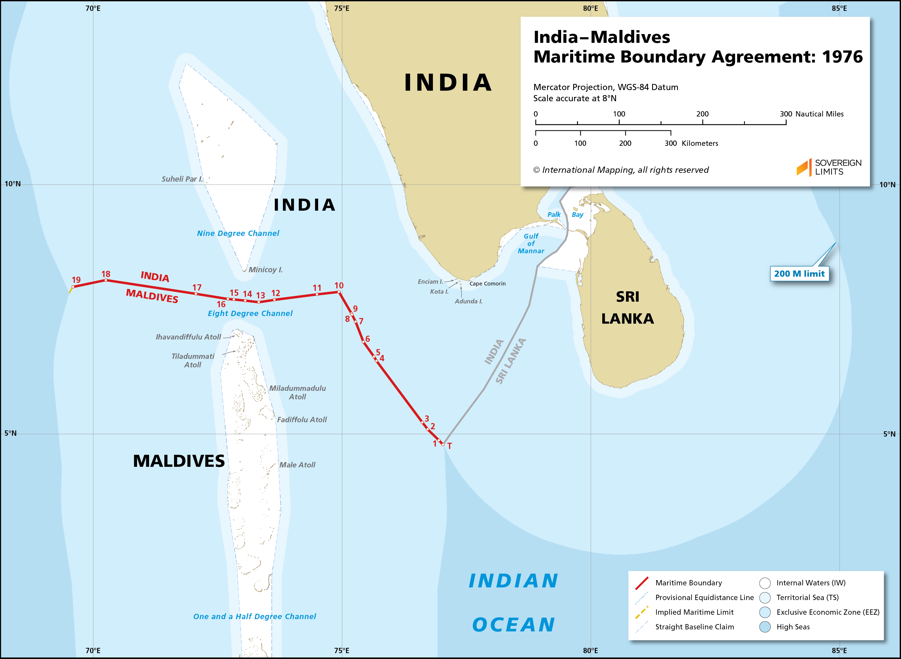 Map showing the maritime boundary between India and Maldives
