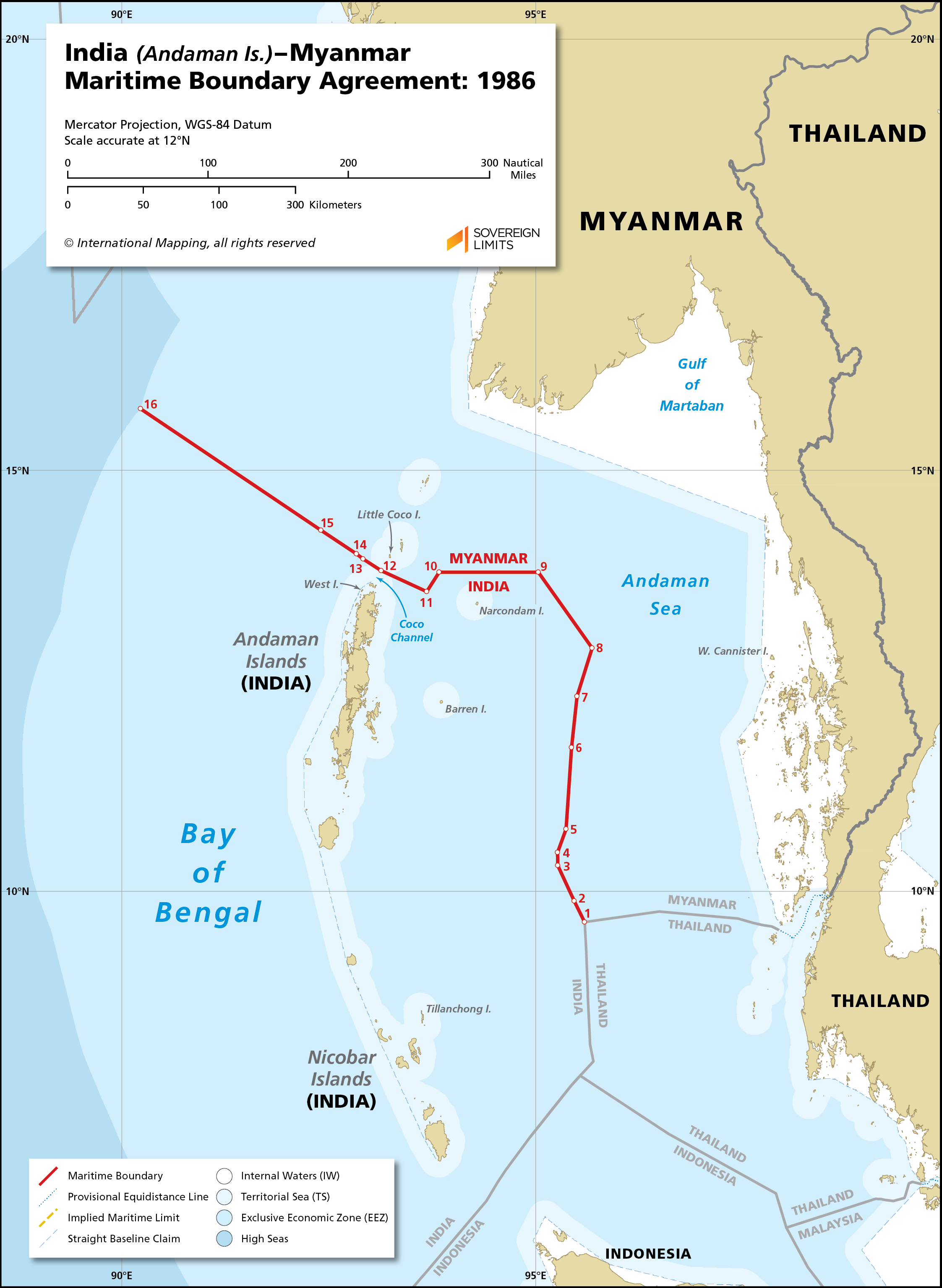 Map showing the maritime boundary between India and Myanmar