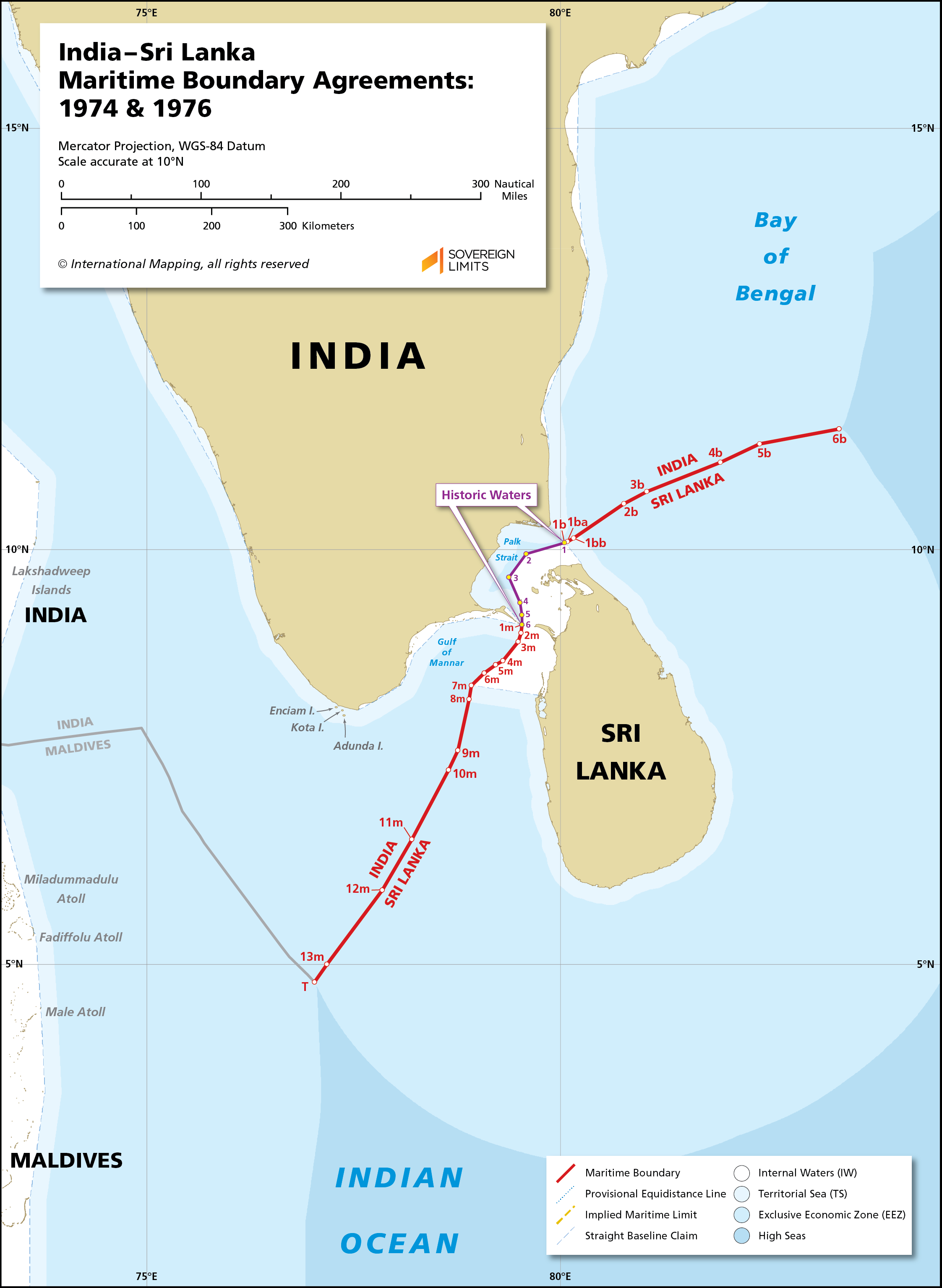Map showing the maritime boundary between India and Sri Lanka